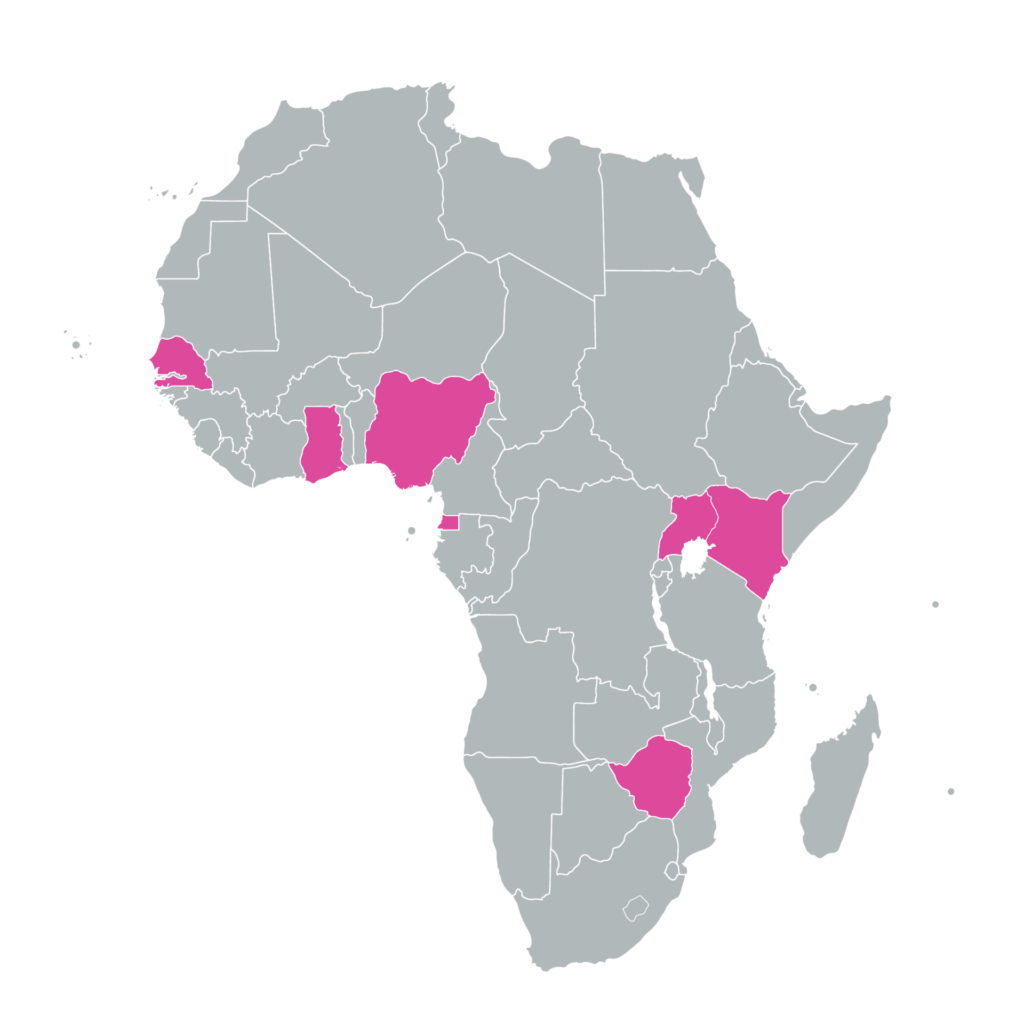 African map with marked countries