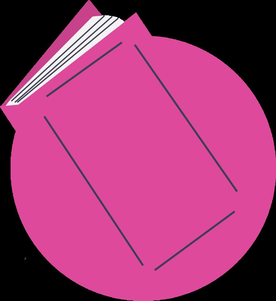 Illustration of a pink book floating